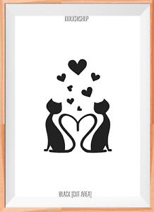 Love Cats Mylar Reusable Stencil Airbrush Painting Art Craft DIY Home Decor