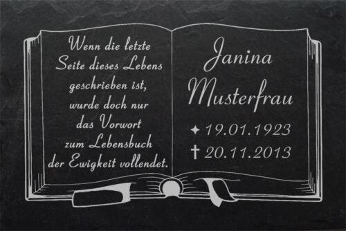 Beton Stütze Buch 02s ►Wunsch Gravur◄ 50 x 30 cm GRABSTEIN Grabplatte Grabmal