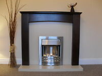 Electric Silver Walnut Brown Cream Stone Marble Flat I Wall Fire Fireplace Suite