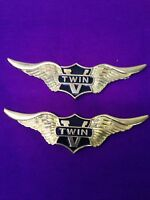 Set Of 2 Brass v-twin Wings For Harley Davidson 4