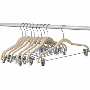Home-it 10 Pack Clothes Hangers With Clips Ivory Velvet Use for Skirt Hanger No