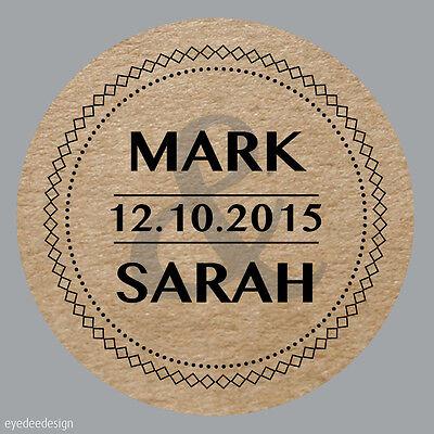 Apprensivo 35x Personalizzato Wedding Shabby Marrone Kraft Effetto Favore Etichette Adesivi -337-mostra Il Titolo Originale