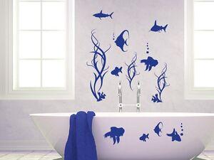 Wandtattoo Wandaufkleber Set Tattoo für Badezimmer Fische Algen ...