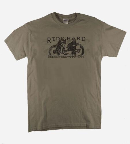 Ride Hard Rest When You Die Retro Biker Design Printed Putty T-Shirt