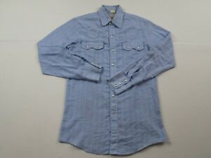 077dce9c7a Vintage California Country Mens Blue Western Shirt Sz M Long Sleeve ...