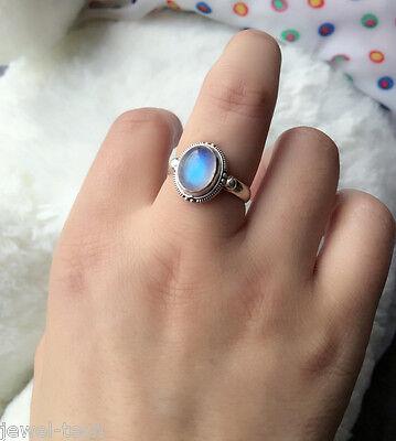 Rainbow Moonstone Ring 925 Solid Sterling Silver Handmade Jewelry US-RBM-008