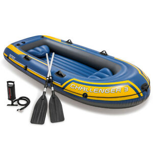 INTEX-Challenger-3-Set-Schlauchboot-Paddel-Pumpe-Angelboot-3-Personen