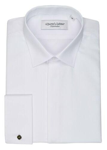 David Latimer Mens Marcella Fly Front Dress Shirt in White