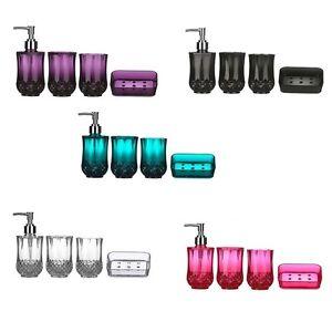 image is loading cristallo bathroom accessories set 4pcs plastic sink utilities