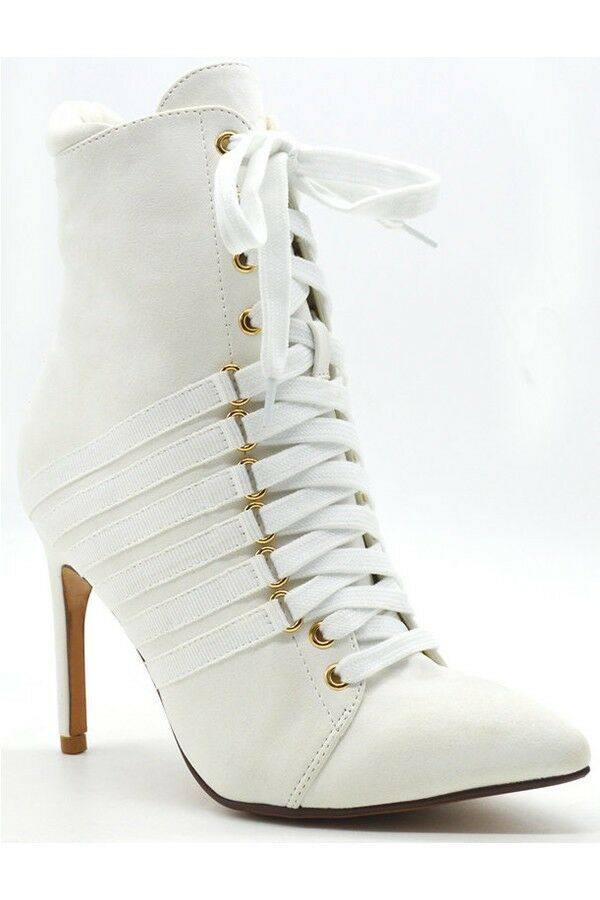 Angelina Winter White Booties De Blossom Collection Lace Up Ankle Boots sz 7-11