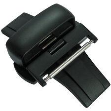 22mm Matte Black PVD Heavy Gauge Push Button Butterfly Deployant Clasp Buckle