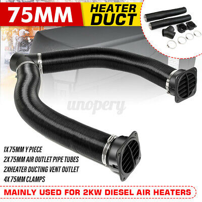 75mm Heater Pipe Duct /& Warm Air Outlet /& Hose Clip For Diesel Propex Webasto