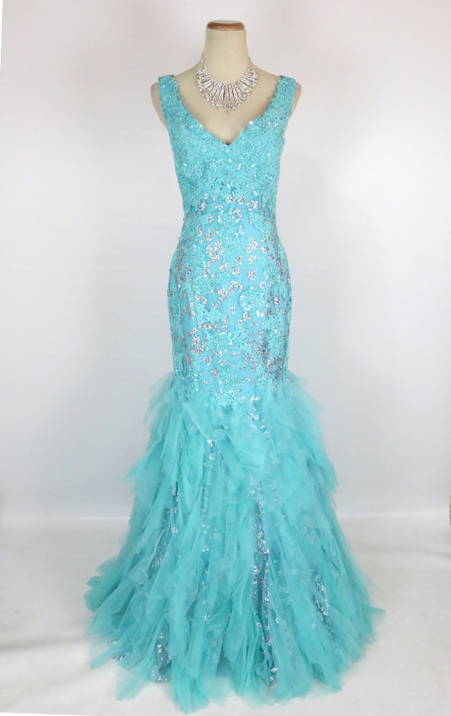 NWT Mermaid Turquoise Size 8 Prom Formal Long Gown  600 Mermaid Dress Lace Tulle