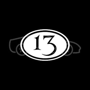 Number-13-Sticker-Euro-Oval-Lucky-Macabre-Vinyl-Decal-Car-Truck-White-Euro-JDM