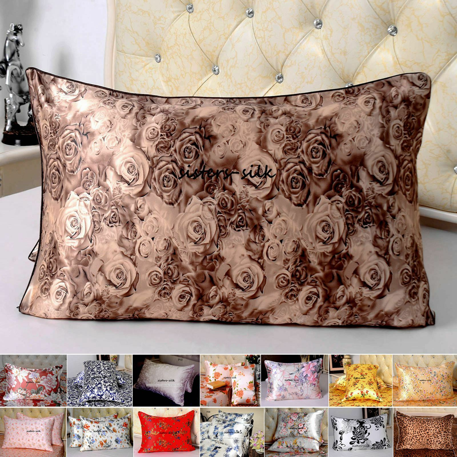 1pc 16mm Pure Silk Printed Pillow Case Standard Queen
