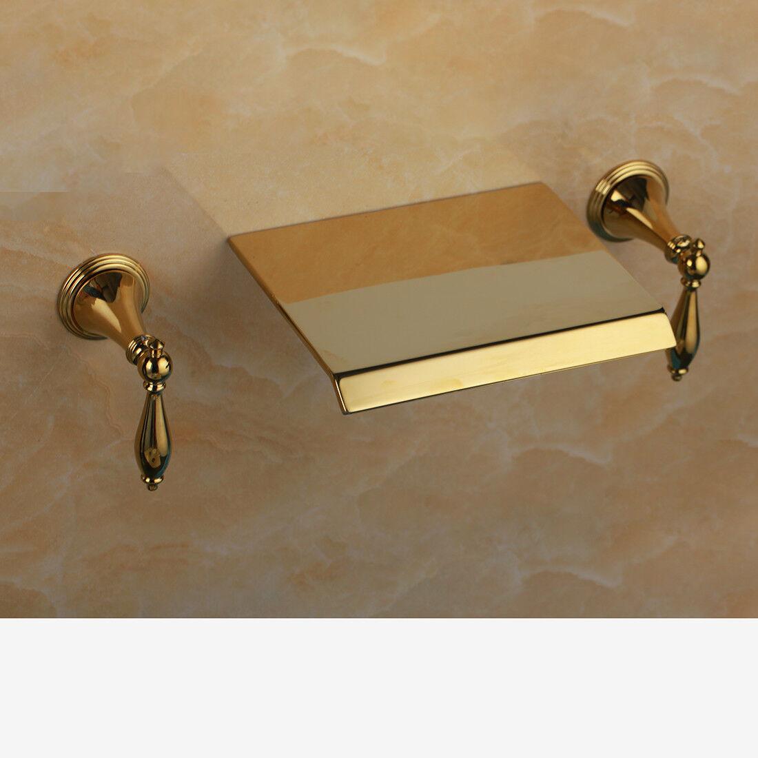 Or Support mural bain baignoire Mélangeur lavabo robinet double poignées cascade laiton robinets