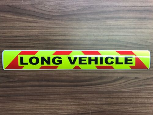 Sticker sign LONG VEHICLE Reflective Red chevron Background Wide Load