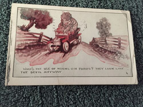 1920 What's the Use of Horns on Fords They Look Like Devil Anyway Postcard ID495