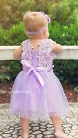 Baby Toddler Girls Dress Vintage Style Flower Girl 12-18 Months Lavender Rts