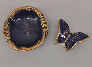8640028 Porcelana Kämmer Cobalto Cuenco Mariposa Chapado Oro