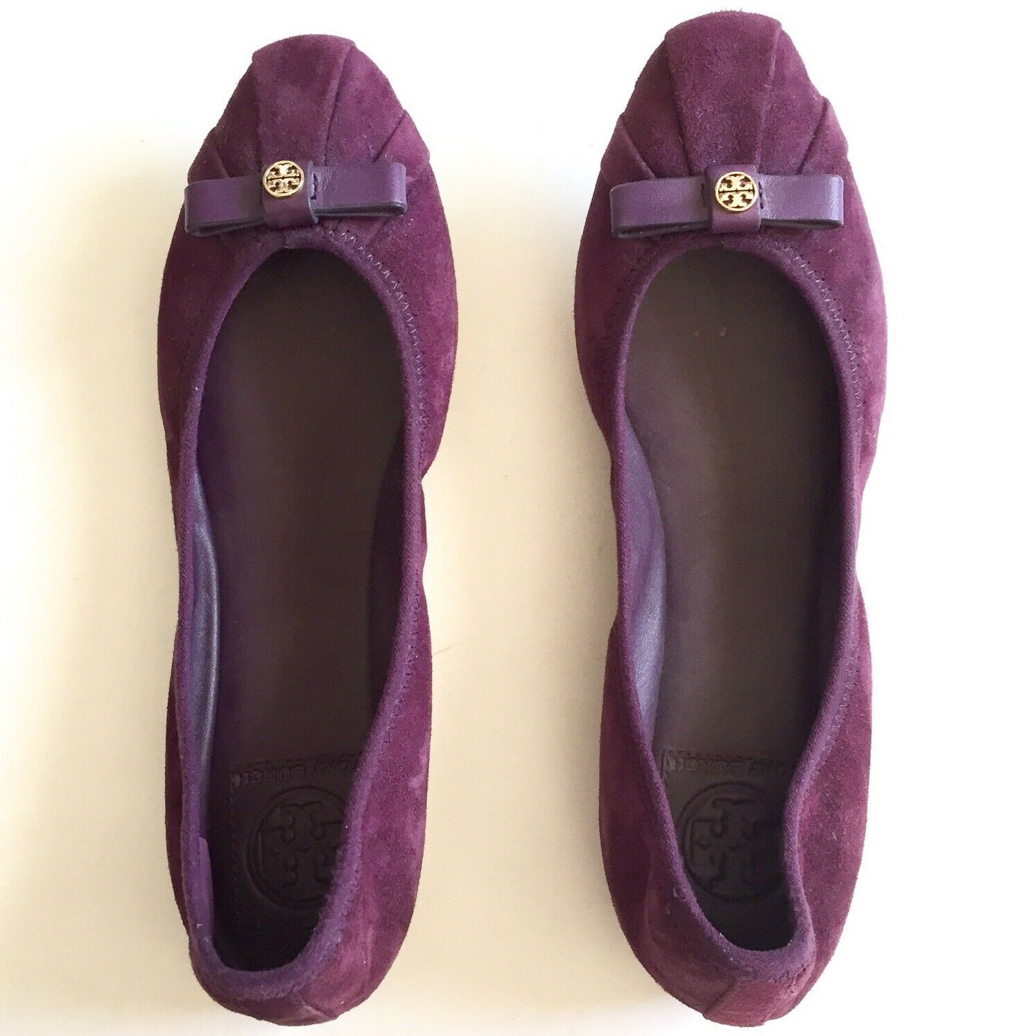 Tory Burch Womens Purple Suede Leather Bow Ballet Flats shoes Size 7M Pleated