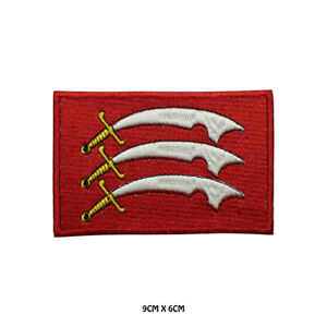 ESSEX County Flag Embroidered Patch Iron on Sew On Badge For Clothes Etc