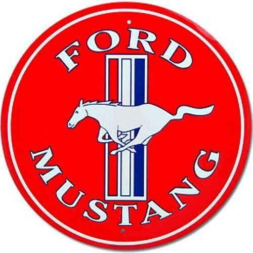 """Ford Mustang Rouge 12/"""" Rond Étain Métal Signe Nostalgique Rétro Maison Garage Wall Decor"""