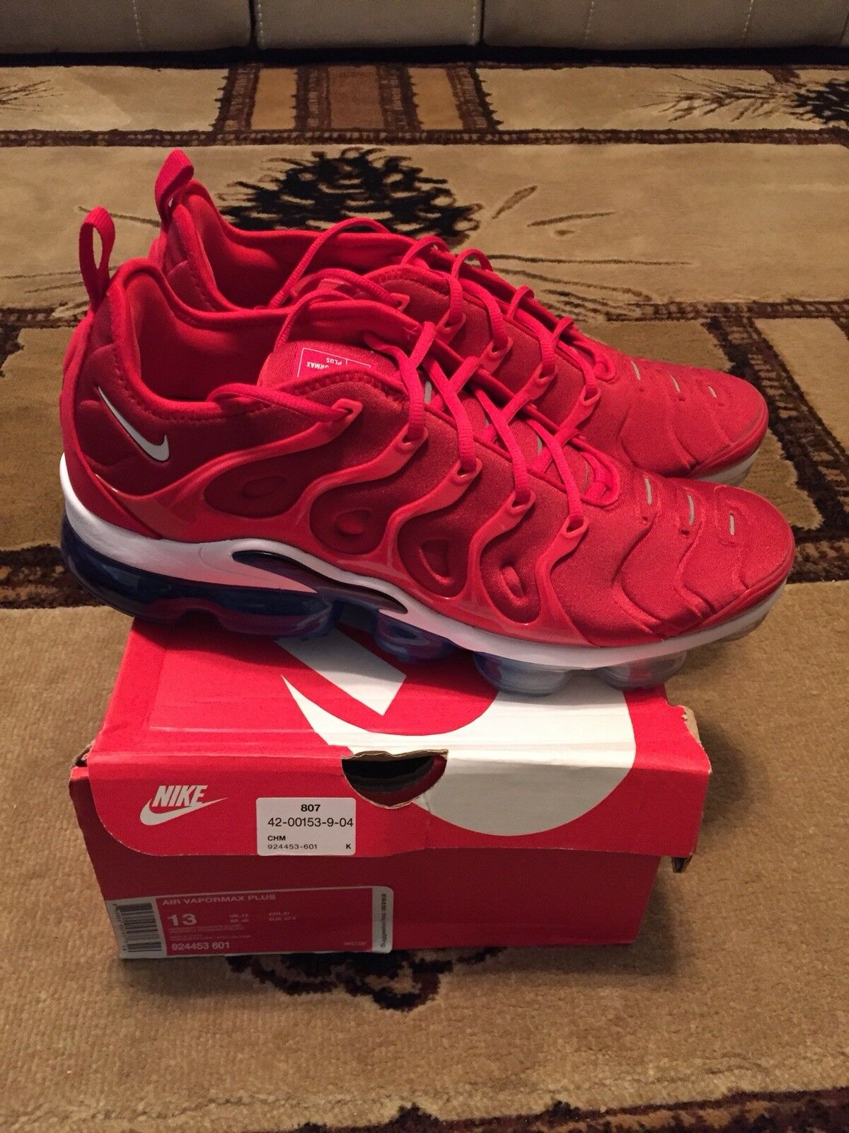 New 2018 Nike Air Vapormax Plus USA University Red White Blue B 924453-601 Sz 13 Wild casual shoes