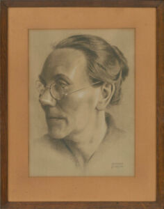 Hubert-Dupond-Signed-20th-Century-Charcoal-Drawing-The-Bespectacled-Woman