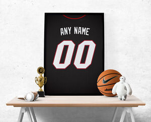 Miami Heat Jersey Poster - Personalized Name & Number FREE US SHIPPING