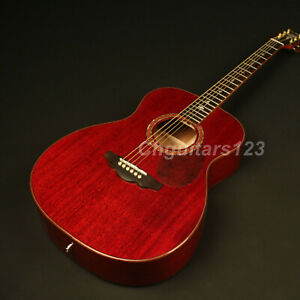 Handmade-Electric-Acoustic-Guitar-Solid-Mahogany-Top-Abalone-Inlay-Sound-Hole