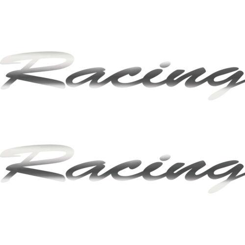 2 Aufkleber Schriftzug Racing 20cm chrom Tattoo Deko Folie Auto Tür Heck Klappe