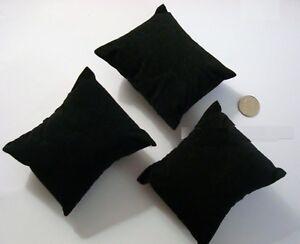 3 Velours Noir Bracelet Montre Pendentif Affichage Oreillers 3 1/4 X2 3 4/x1 5/8 Gamme ComplèTe D'Articles