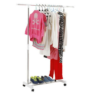 rolling clothes rack hanging garment bar portable adjustable heavy hanger white. Black Bedroom Furniture Sets. Home Design Ideas