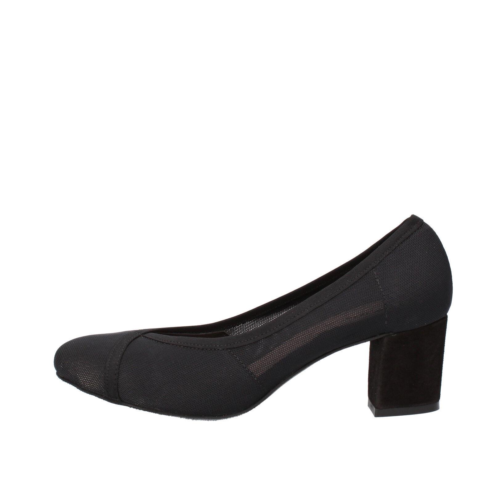 scarpe donna KEYS 36 decolte nero tessuto camoscio AG786-B