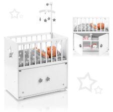 Puppenbett mit Schrank und Mobile Sternchen (Weiß-Grau) Puppenschrank Bett