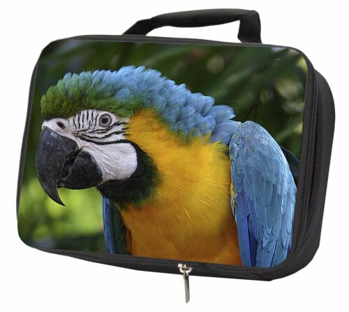 AB-PA10LBB Blue+Gold Macaw Parrot Black Insulated School Lunch Box Bag