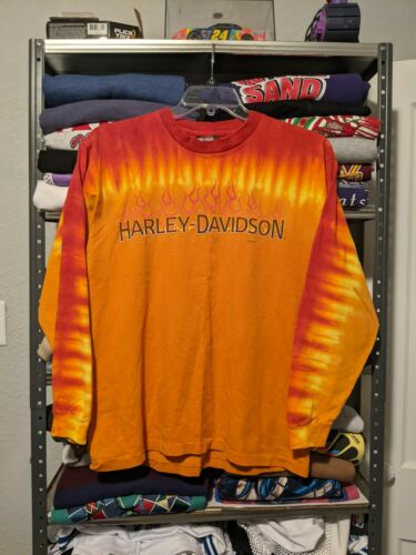 90s Harley Davidson Flame Tie Dye All Over Print P