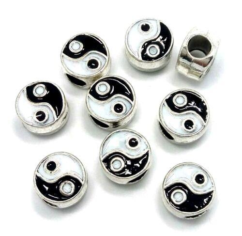 Yin Yang Emaille Versilbert Abstandhalter-Charme Perlen Für