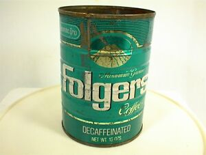 Image Is Loading Vintage Folgers Decaffeinated Coffee Can 13 Oz Tin