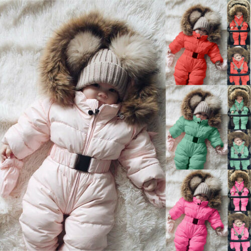 Toddler Baby Boy Girl Winter Warm Romper Jacket Hooded Jumpsuit Coat Outfit z0