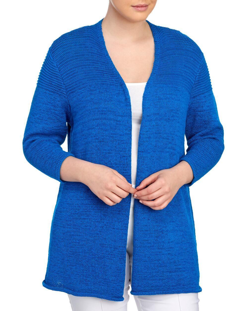 KASPER® Plus Size Size Size 2X, 3X Tape Yarn Open Front Cardigan NWT  109 018e1d