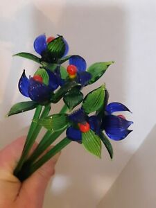 """1 Art Glass Flower Made in Italy Venetian Glass Figurines 8-9"""" Blue Orchid"""