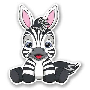 2 x cute zebra cartoon vinyl sticker laptop travel luggage car #5559