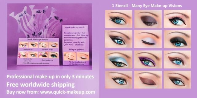 Quick Makeup Stencils 3 Set+12 Quick Eyeliner Stickies Perfect Eye ORIGINAL US4