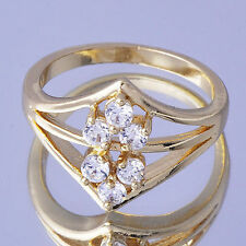 9k Gold Filled Clear crystal Womens Wedding  engagement promse Ring Size 6