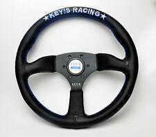 340mm KEY's Genuine Leather Flat Steering Wheel OMP MOMO Racing Rally Drifting