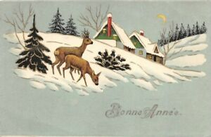 CPA-Fantaisie-Bonne-Annee-Chevreuil-et-Cerf-dans-la-neige
