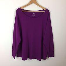 SOFT SENSATIONS women's 3X plus size purple thermal knit top casual shirt basic