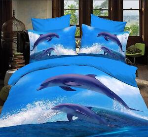 blue white sea dolphin Cotton queen size Quilt / duvet Cover sheet ... : dolphin quilt - Adamdwight.com